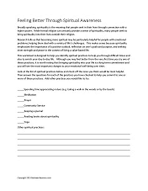 Spirituality And Recovery Worksheets by Between Sessions Mental Health Worksheets For Adults