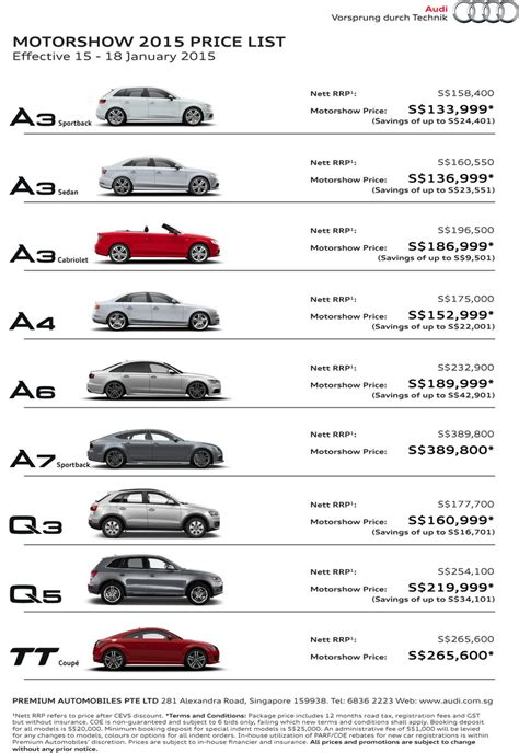 singapore motorshow  audi deals promotions  price list