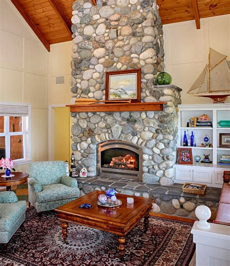 a riverstone fireplace sets the tone creative faux panels 19 river stone fireplaces for nature inspired home style