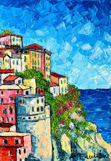 colorfu houses painting cinque terre italy manarola painting detail 3 sketches