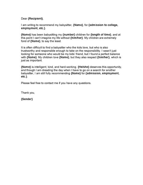 Reference Letter Nanny Nanny Letter Of Recommendation Letter Of Recommendation