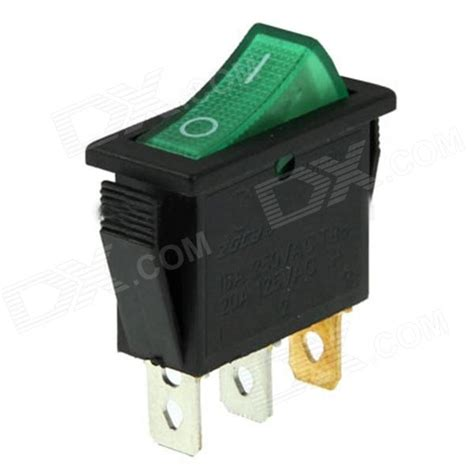 rocker switch 3 pin on green 15a ac 250v 20a ac 125v free shipping dealextreme
