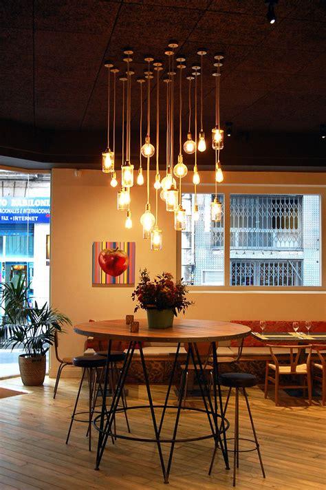 iluminacion de restaurante  lamparas de estilo vintage