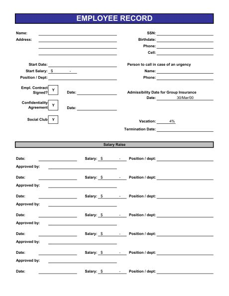 Employee Records Template Sle Form Biztree Com Employee Personnel File Template