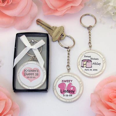 Sweet 16 Giveaways - personalized sweet 16 key ring favors wrapwithus