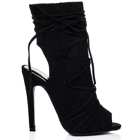 high heel open toe boots angkor black ankle boots shoes from spylovebuy