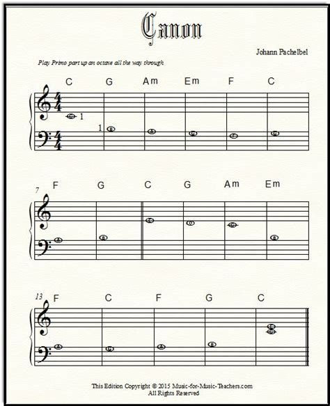 lettere canone pachelbel canon free sheet for beginner piano with