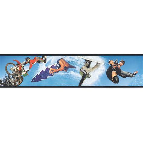 shop allen roth 6 quot blue extreme sports digital prepasted wallpaper border at lowes com