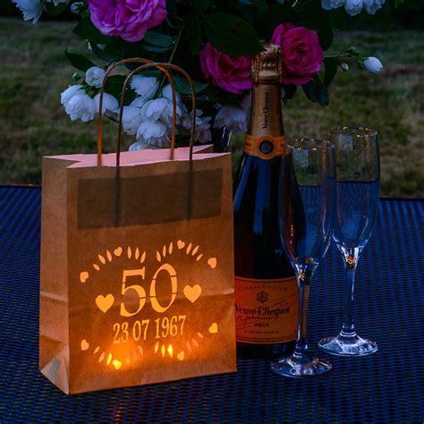 golden wedding anniversary lantern bag, personalised by