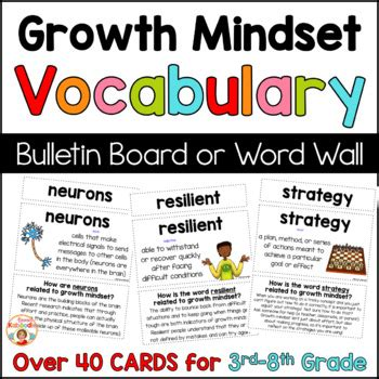 growth mindset vocabulary  word wall  bulletin board