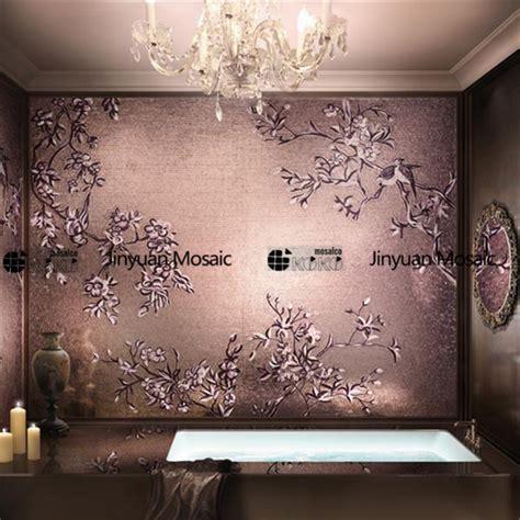 Handmade Wall Murals - handmade flower mosaic mural golden mosaics