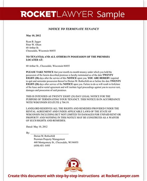 301 Moved Permanently Eviction Notice Template Wisconsin