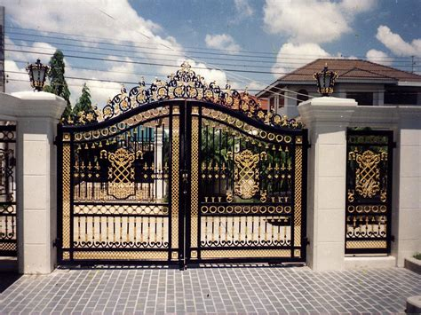 Home Decor Beautiful Entry Gates Wooden And Steel House Metal Front Door Gates
