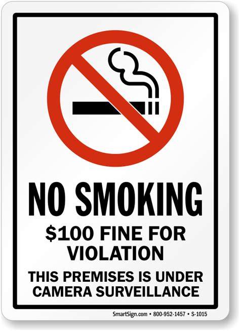no smoking sign with fine fine for violation no smoking sign sku s2 1015