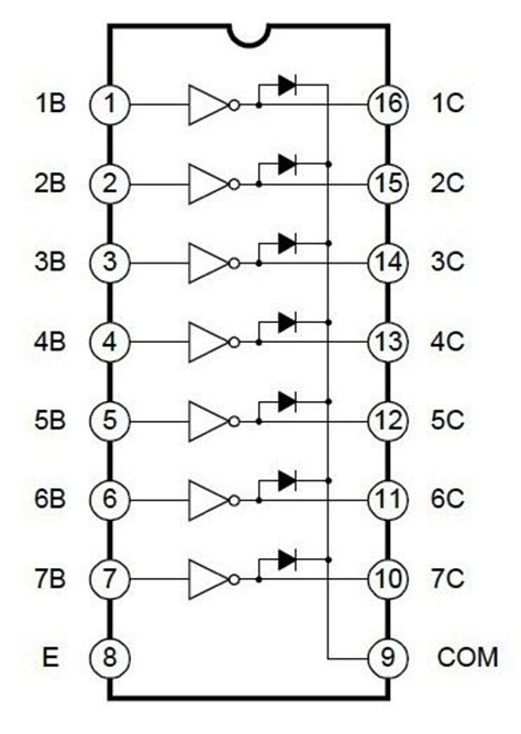 transistor driver array uln2003 high voltage and current darlington transistor array driver ic