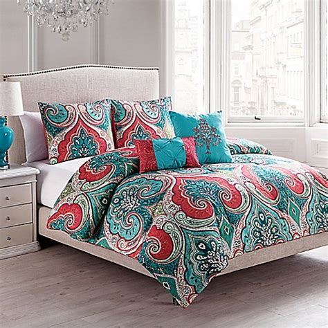turquoise and red comforter vcny casablanca reversible comforter set in turquoise