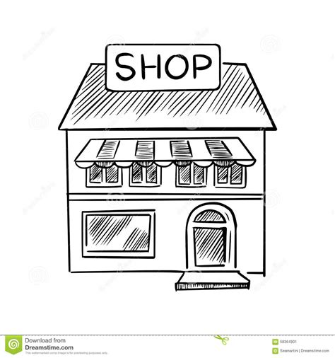 Awning Sale Store Sketch With Shop Signboard Stock Vector Image