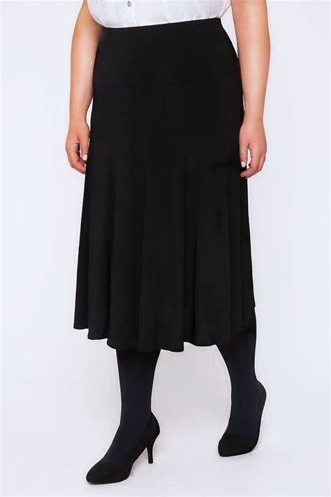 black midi fit flare panelled skirt with elasticated