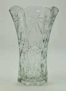 Glass Flowers In Vase Anchor Hocking Prescut Clear Pattern Cut Glass Flower