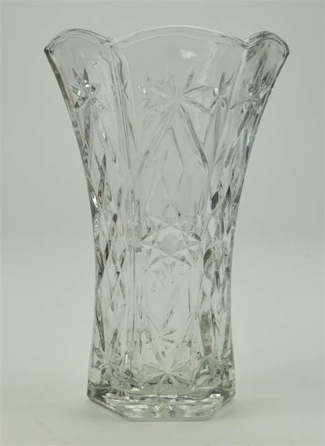 Clear Flower Vase by Anchor Hocking Prescut Clear Pattern Cut Glass Flower