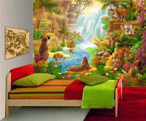 wall murals for playrooms large wall mural tigers wall mural bedroom playroom kidinthemural com800 215 661search by
