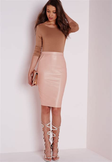 missguided mariota faux leather midi skirt