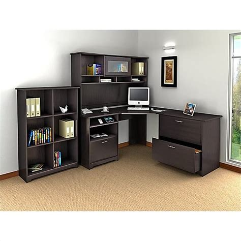 Espresso Office Desk Bush Cabot 4 L Shaped Computer Desk Office Set In Espresso Oak Wc31815 03 Pkg2