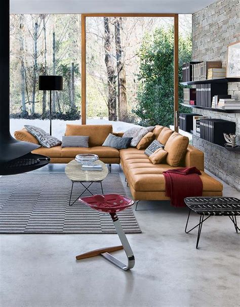 Blue Walls Caramel Leather Interiors 35 Amazing Modern Living Room Design Collection