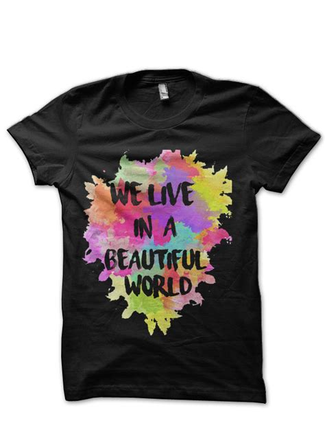 coldplay we live in a beautiful world we live in a beautiful world coldplay black t shirt