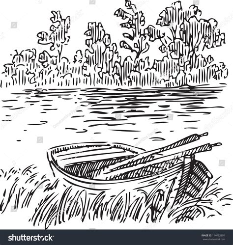 boat with oars vector boat with oars near the shore vector illustration