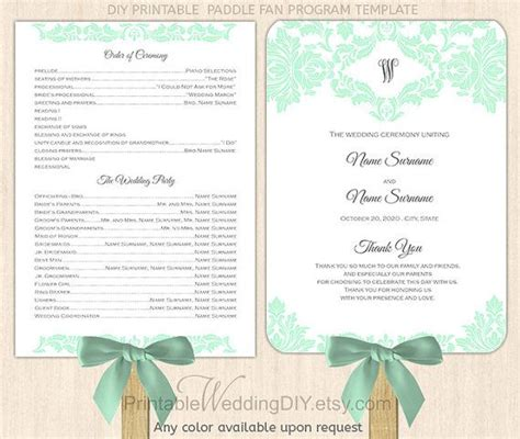paddle fan wedding program template purple lilac damask paddle fan program template printable