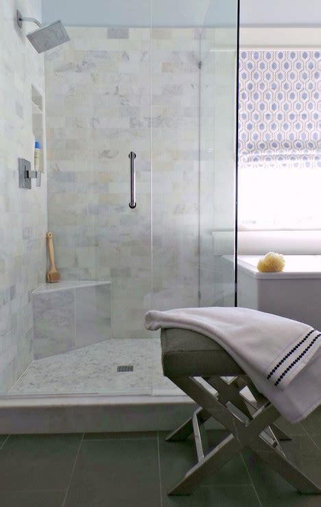 corner shower seat marble corner shower bench transitional bathroom the ace of