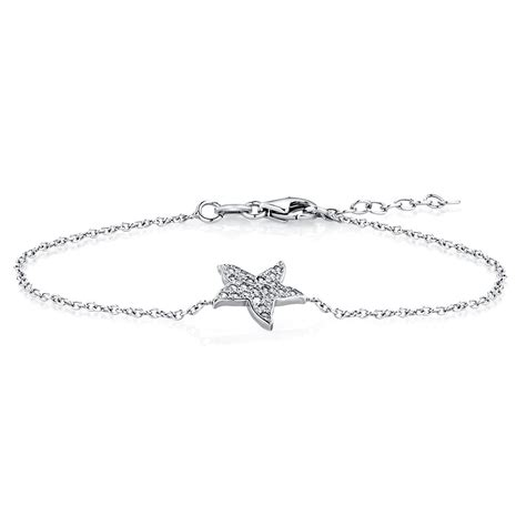 starfish bracelet with cubic zirconias in sterling silver