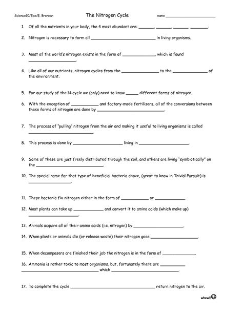 The Nitrogen Cycle Worksheet Answers by 17 Best Images Of Nitrogen Cycle Worksheet Middle School
