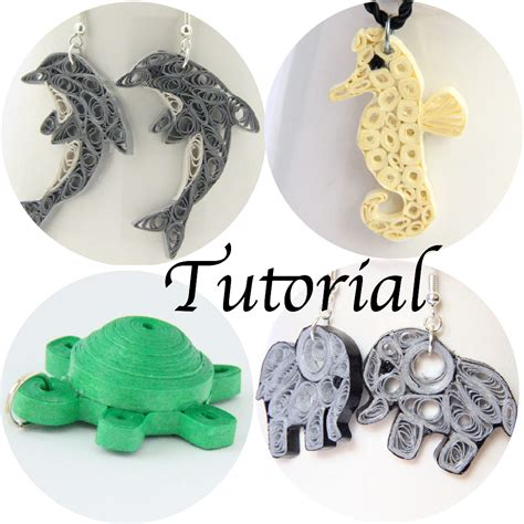 Paper Earrings Tutorial - tutorial for paper quilled animal jewelry dolphin