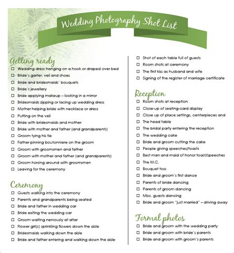 wedding photography list template list template 10 free documents in word pdf