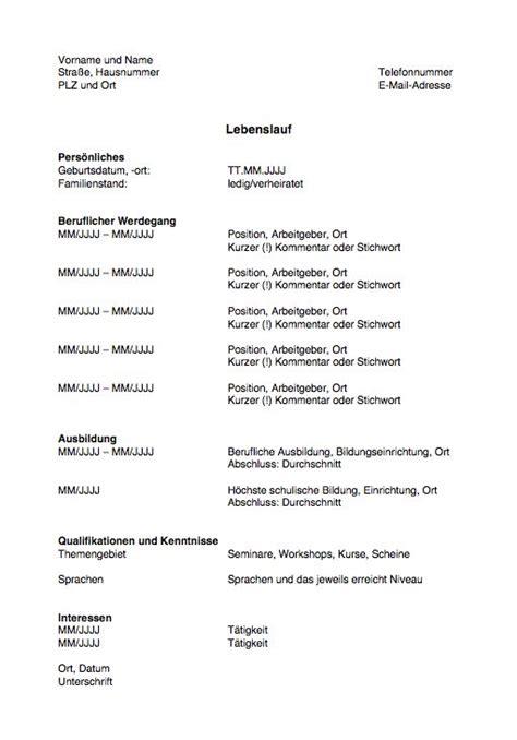 Lebenslauf Standard Schweiz Lebenslauf Vorlage