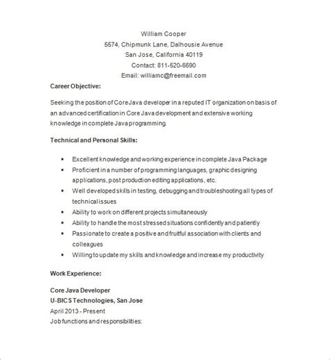 resume for java developer with year experience templates java developer resume lifiermountain org