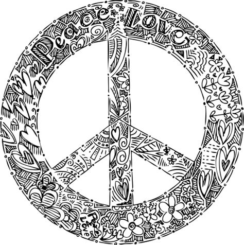sign and doodle free coloring pages of mandala peace