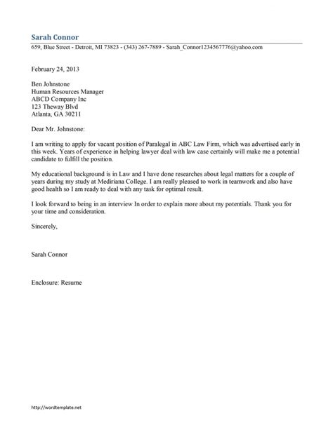 paralegal cover letter template free microsoft word