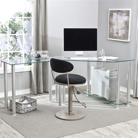 Glass Table L Shades L Shaped Glass And Metal Computer Desk Which Mixed With Rounded Black Velvet Swivel Chair Of