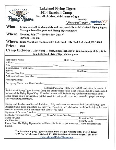 Baseball Donation Letter Youth Donation Requests Lakeland Flying Tigers Special Events