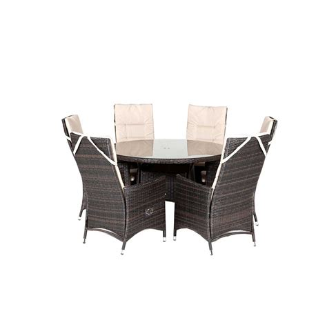Kensington Club 165cm Rattan Table With 8 Reclining Dining Reclining Dining Chair