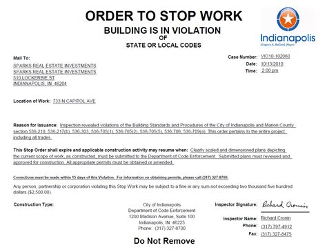 Stop Work Order by Stop Work Order Posted At The Di Rimini Urban Indy