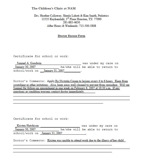 doctor notes templates doctors note templates pdf rtf word