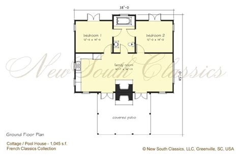 pool guest house plans new south classics guest cottage new
