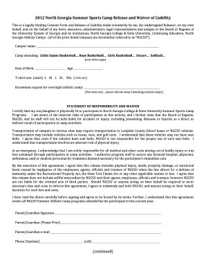 Sport Liability Waiver Forms Fill Online Printable Fillable Blank Pdffiller Sports Waiver Template