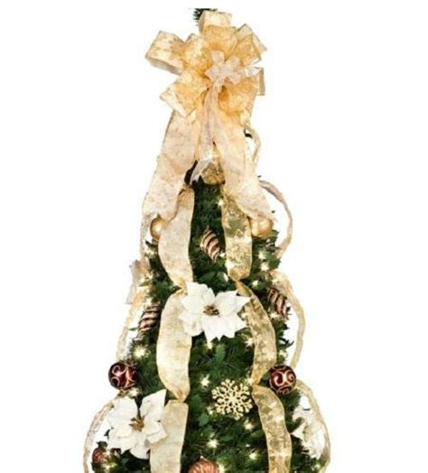 pre decorated pull up tree 6 1 2 lighted pre lit decorated artificial pull up tree decor ebay