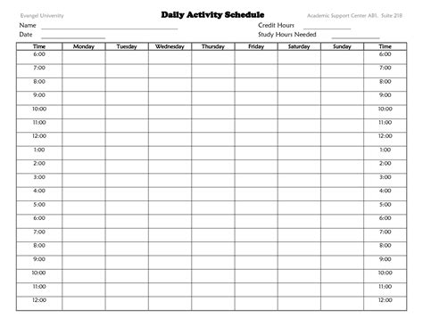 daily activity schedule template best photos of daily activity planner template daily