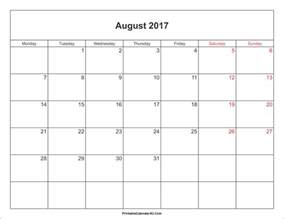 august 2017 calendar printable with holidays weekly